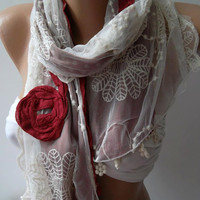 Red Roses  - Elegance Shawl / Scarf with Lace Edge-