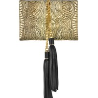 Roberto Cavalli Lion Gold and Black Quilted Metallic Python Small Clutch