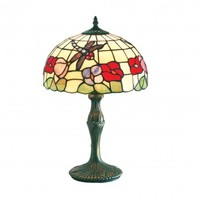 12inch (30cm) Handmade Dragonfly Tiffany Table Lamp - Beige and Colours