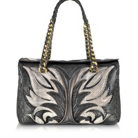 Roberto Cavalli Regina Charcoal Vintage Calf and Fire Patchwork in Ayers Small Satchel