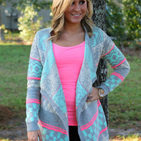 See Me Smile Cardigan: Pink/Mint/Grey