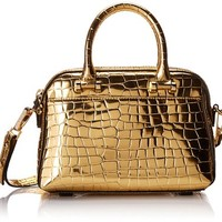 MILLY Gold Croc Small Top-Handle Bag