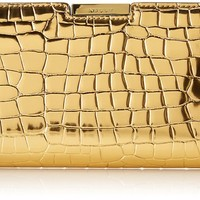 MILLY Gold Croc Small Frame Clutch