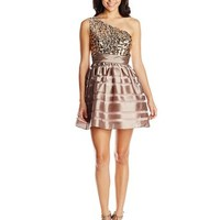 Hailey Logan by Adrianna Papell Juniors One Shoulder Bodice Shantung Dress