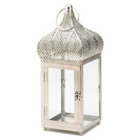 "13"" Lattice Candle Lantern, Silver"