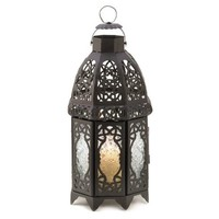 "S/2 12"" Lace Lanterns, Black"