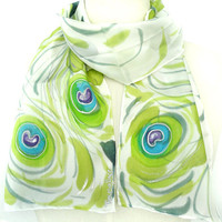 AISHE. Hand Painted Long Silk Scarf. Lime, Laurel Green Silk Scarf. Peacock Fashion. Green Blue Scarf. 8x54 in. (20x137cm). Ready to Ship.