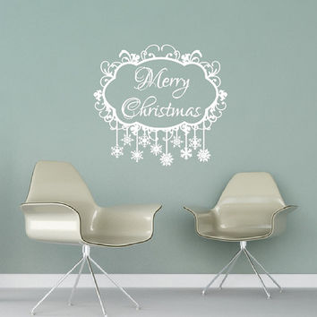 Frozen Snowflake Merry Christmas Vinyl Wall Decal 22476