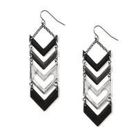 Mixed Metals Chevron Bars Drop Earrings