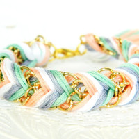 Iced Mint &amp; Peaches - Peachy Keen, Pearl, Platinum,  Mint  - Chevron Braided Modern Friendship Bracelet - Gold Chain