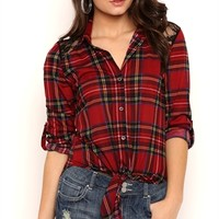 Tie Front Plaid Top with Lace Back