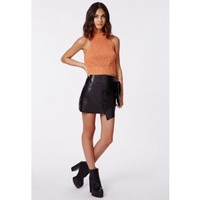 Missguided - Denyse Tan Cropped Jumper With Racer Neck
