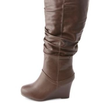 Bamboo Slouchy Wedge Boots by Charlotte Russe - Brown
