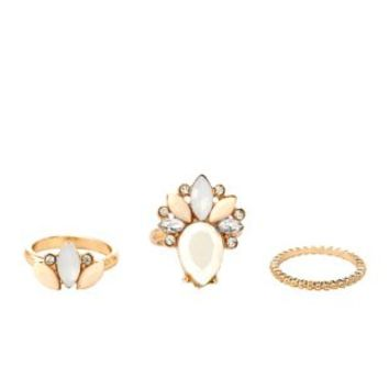 Marquise-Cut Faceted Stone Rings - 3 Pack by Charlotte Russe - Multi