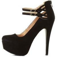 Cut-Out Ankle Strap Platform Pumps by Charlotte Russe - Black