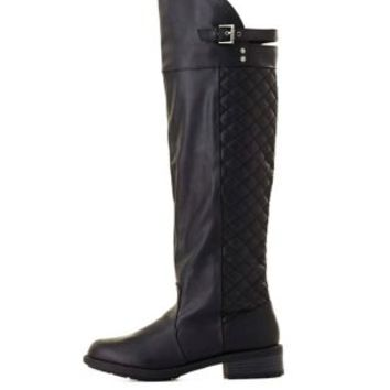 Qupid Quilted Knee-High Boots by Charlotte Russe - Black
