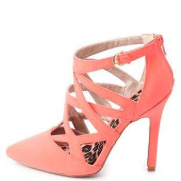 Qupid Cut-Out Pointed Toe Pumps by Charlotte Russe - Neon Coral