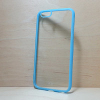 iPhone 6 (4.7 inches) Case Silicone Bumper and Clear Hard Plastic Back - Light Blue