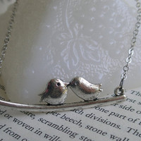 SALE-Lovebird necklace- Silver bird necklace- Birds on a branch necklace- Kissing birds- Antique silver bird necklace- Lovebirds- Fashion