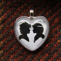Hiccup and Astrid Heart Silhouette Cameo Pendant Necklace