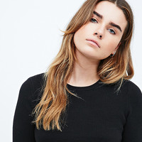 Silence + Noise Up All Night Crop Jumper in Black - Urban Outfitters