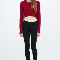 Silence + Noise Up All Night Crop Jumper in Red - Urban Outfitters