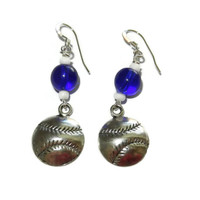 Royal Blue and White Baseball Charm Earrings, Sterling Silver