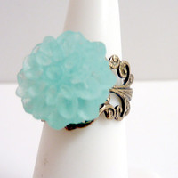 Seafoam Green Ring, Vintage Inspired Brass Filigree Ring, Mint Green Flower Ring, Adjustable Ring