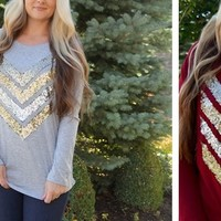 KISSmeMINT Chevron Sequin Top Small-XL!