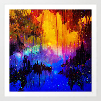 CASTLES IN THE MIST Magical Abstract Acrylic Painting Mixed Media Fantasy Cosmic Colorful Galaxy  Art Print by EbiEmporium