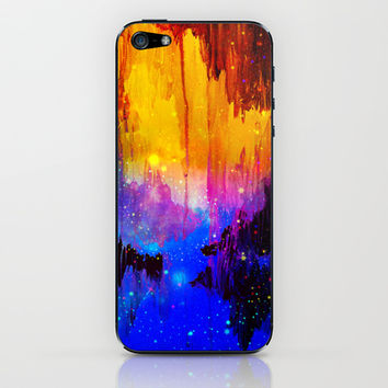 CASTLES IN THE MIST Magical Abstract Acrylic Painting Mixed Media Fantasy Cosmic Colorful Galaxy  iPhone & iPod Skin by EbiEmporium