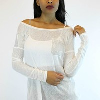 Bejeweled Pocket Top in White   T Party