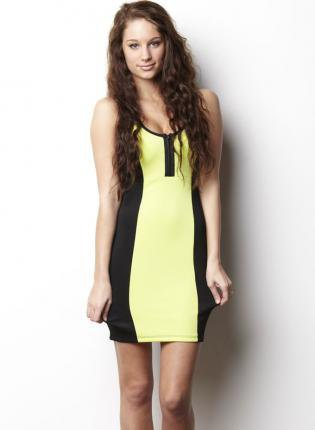 Black and Lime Racerback Scuba Dress with Zip Front