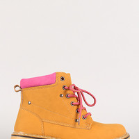 Two-Tone Lace Up Round Toe Work Boot