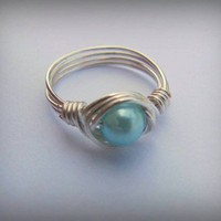 Light blue pearl wirewrapped ring with silver wire, size 7, dainty and feminine, robin egg blue, special occasion, fashion jewelry