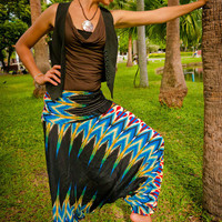 Thai Harem Pants in Cotton, Batik, Black, Blue &amp; Red in Retro Native Design (S-XL) one size fits all