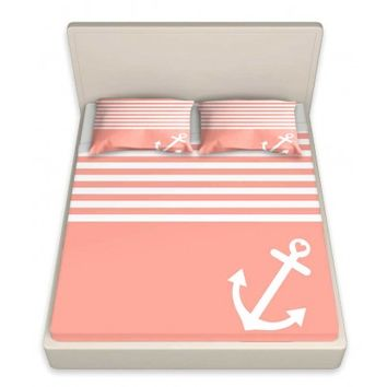 DiaNoche Designs Unique Decorative Designer Bed Sheets | Organic Saturation's Coral Love Anchor Nautical