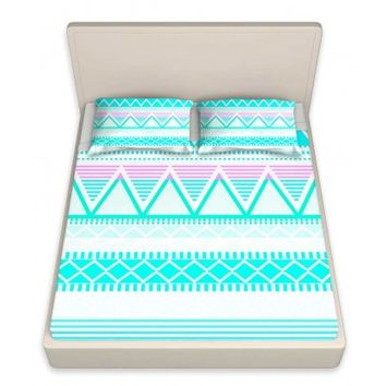 DiaNoche Designs Unique Decorative Designer Bed Sheets | Organic Saturation's Bright Turquoise Tribal