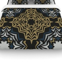 "Kess InHouse Miranda Mol ""Golden Fractals"" 88 by 88-Inch Woven Duvet Cover, Queen"