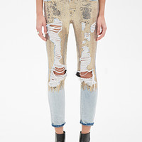 FOREVER 21 Distressed Sequin Jeans Light Denim