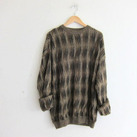 vintage oversized slouchy pullover sweater. men's cotton sweater. size XL