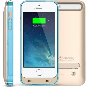 Alpatronix BX120 Apple MFi Certified Ultra-Slim Protective Extended iPhone 5S / iPhone 5 Battery Charging Case with Removable / Rechargeable Power Cover & Built-In Kickstand [Fits all versions of the Apple iPhone 5 & iPhone 5S / 2400mAh Battery Pack / Full