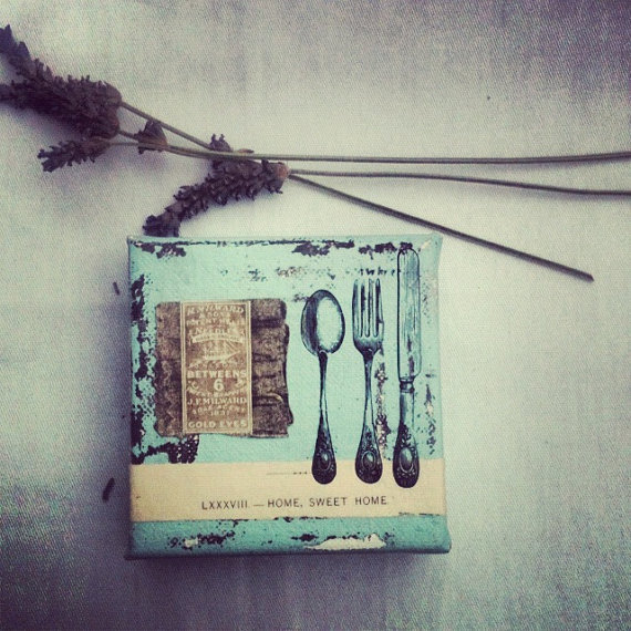 4x4,2 ,Vintage fork, Vintage book page,Dorm Room, Office,Collage, Cottage Chic,Nursery ,Vintage Stamps, Seashell