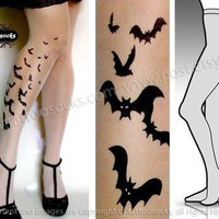 Large/Extra Large sexy BATS tattoo tights / stockings/ full length / pantyhose / nylons ULTRA PALE