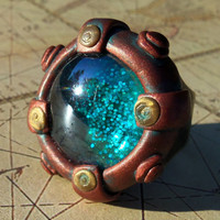 Steampunk Porthole Ring  with Glittery Blue Glass