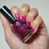 Nail Polish: Sweet Sixteen - Fuschia Jelly Polish with Pink, Purple, Red and Blue Glitters