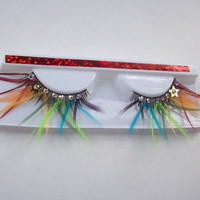 Rainbow Star Feather Eyelashes