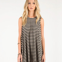 JAIL BREAK STRIPED FLARED DRESS - MOCHA