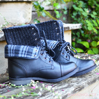 Pixie Plaid Black Sweater Boot