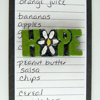 Hope magnet - sculpted inspirational word fridge magnets, green with silver glittery glaze, kitchen decor